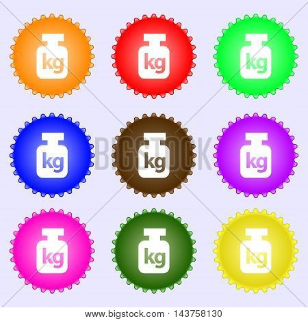 Weight Icon Sign. Big Set Of Colorful, Diverse, High-quality Buttons. Vector