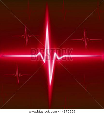 Red heart beat. Ekg graph.
