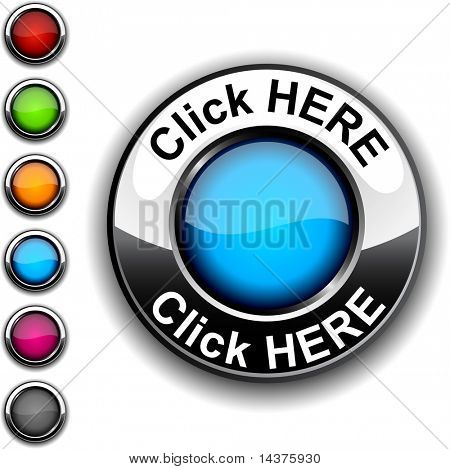 Click here realistic button. Vector.
