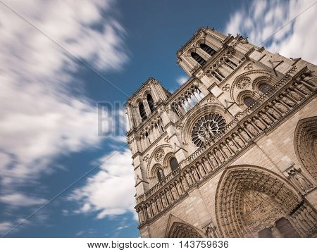 Notre Dame De Paris. France. Ancient Catholic Cathedral On The Quay Of A River Seine. Famous Tourist