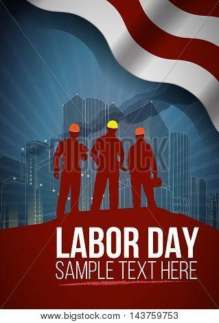 Labor day card or poster design, vector illustration