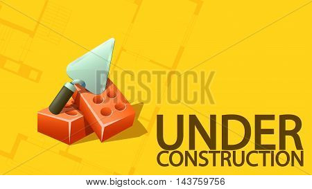 illustration of under construction banner with trowel and bricks