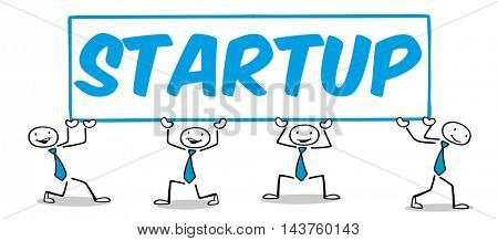 Two cartoon business people holding up a startup sign
