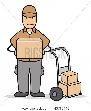 Cartoon parcel delivery man with package in his hands