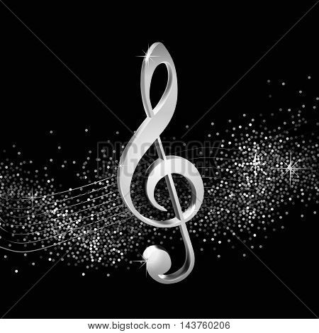 Treble clef on shiny background, volume silver beautiful illustration for your design on musical theme