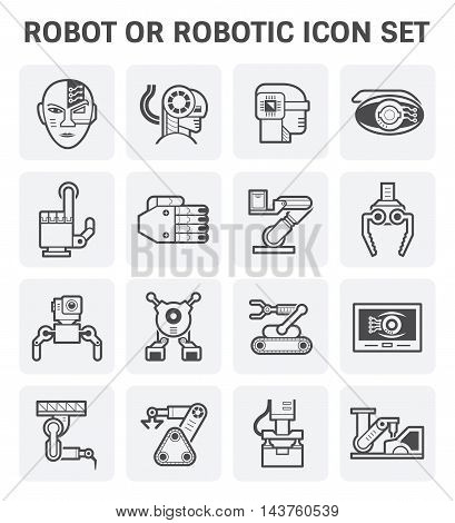 Robot or robotic vector icon set design isolated on white background.