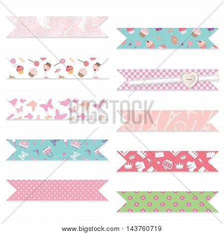 Festive ribbons set. Decorative elements for birthday, baby shower design. Seamless patterns are full under clipping mask.