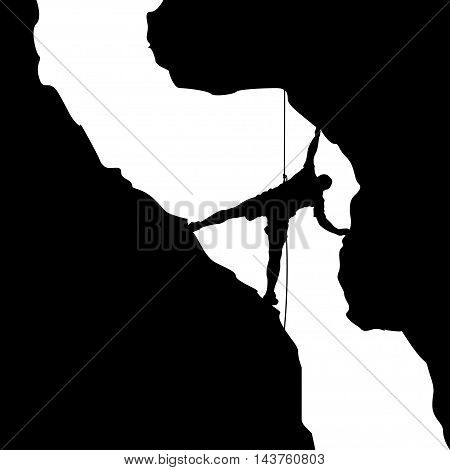 illustration of black color male rock climber silhouette in valley