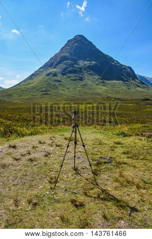 Photography tripod in Glencoe mountains, in Scotland