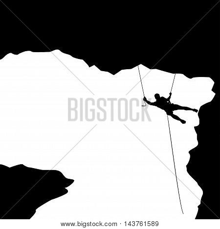 illustration of black color male rock climber silhouette in a big cave