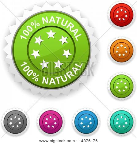 100% Natural  award button. Vector.