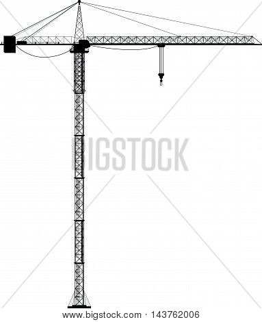 illustration of big realistic silhouette construction crane on white background