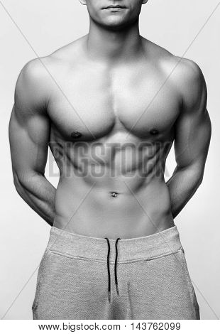 Studio shot of Handsome young man's torso