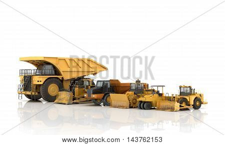 Set of automotive engineering building on a white background.3d illustration