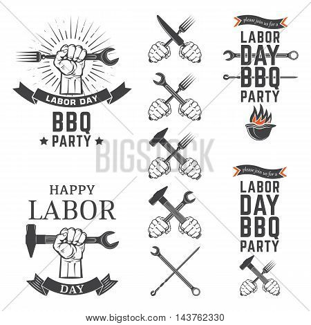 Labor Day BBQ Party vector emblems set.