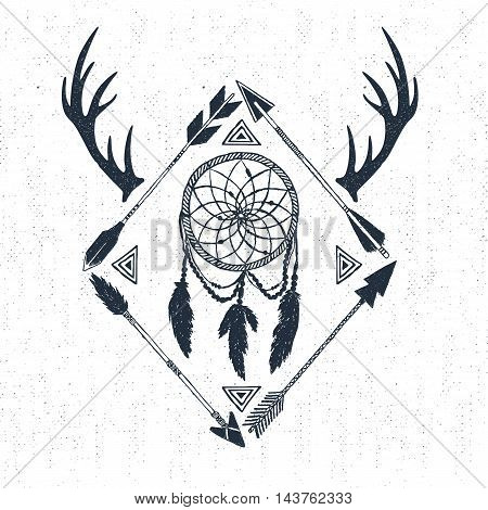 Hand drawn tribal icon with textured dream catcher horns and arrows vector illustrations.