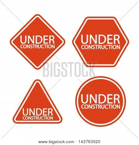 illustration of set red signs with different shape types with under construction letters isolated
