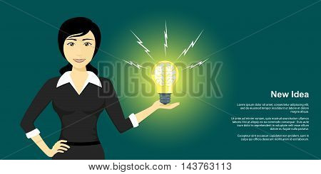 picture of young woman holding light bulb with human brain inside new idea creativity concept flat style illustration