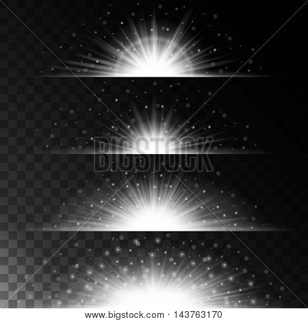 Set realistic lighting effects. Glowing star. Light and glitter on a transparent background. Shining border magical white balls. Vector illustration.