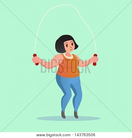Obese Young Woman Jump Rope Workout Funny Cartoon Vector Illustration