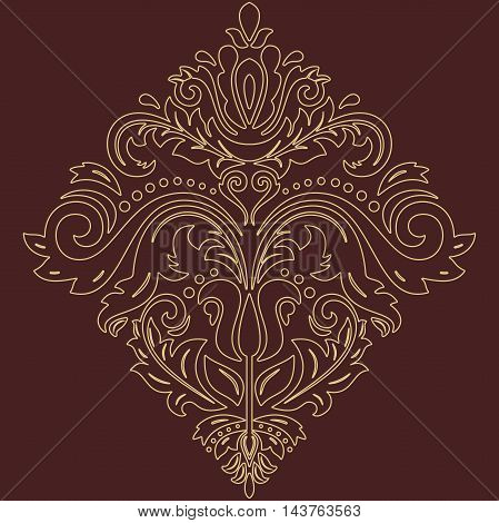 Elegant vector ornament in the style of barogue. Abstract traditional pattern with golden outlines