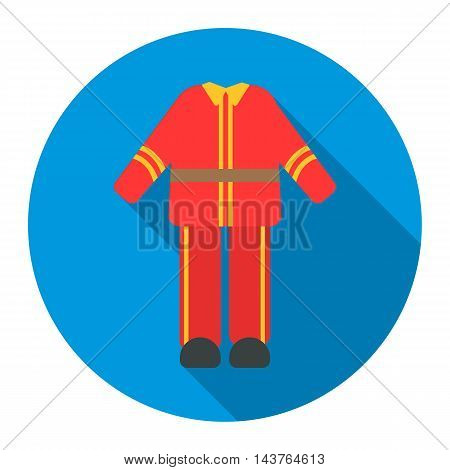 Firefighter uniform icon flat style. Single silhouette fire equipment icon from the big fire Department flat.