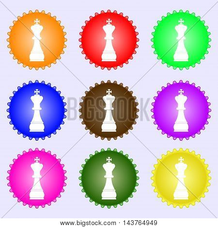 Chess King Icon Sign. Big Set Of Colorful, Diverse, High-quality Buttons. Vector