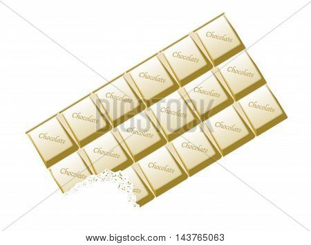 A typical bar of white Chocolate with bite as a background