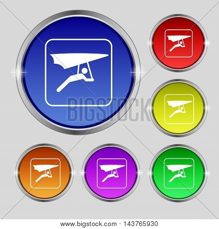 Hang-gliding Icon Sign. Round Symbol On Bright Colourful Buttons. Vector