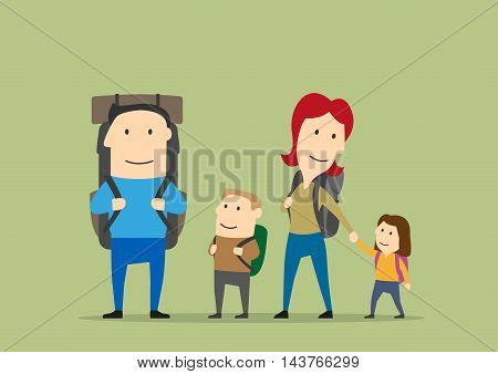 Family with backpacks. Father, mother, boy, girl on hiking. Happy parents and kids on trekking route. Backpacking adventure vector background with characters
