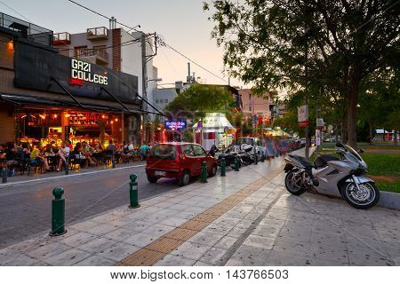 ATHENS, GREECE - AUGUST 21, 2016: Main square in the Gazi neighbourhood of Athens on August 21, 2016.