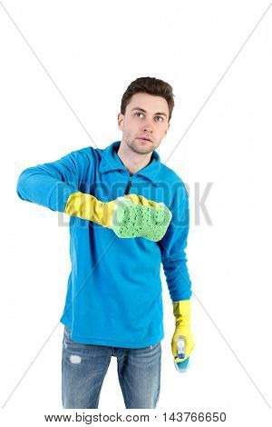 front view of a houseowner in gloves with sponge and detergent. man watching. Rear view people collection.  backside view of person.  Isolated over white background. The curly-haired man in a blue