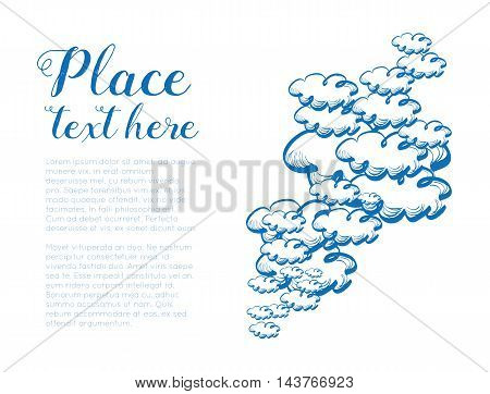 Hand drawing sky with clouds. Vector illustration