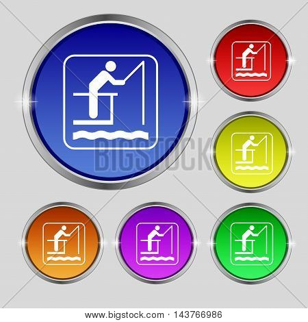 Fishing Icon Sign. Round Symbol On Bright Colourful Buttons. Vector