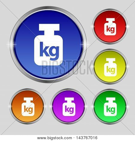 Weight Icon Sign. Round Symbol On Bright Colourful Buttons. Vector