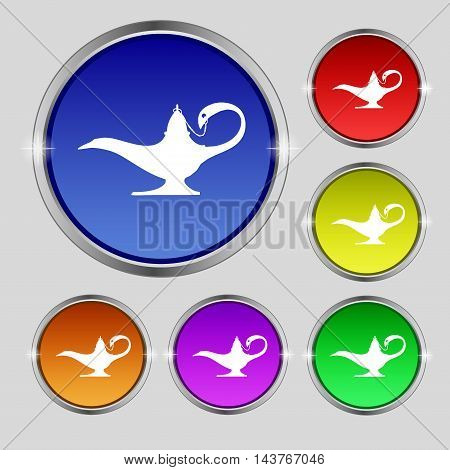 Alladin Lamp Genie Icon Sign. Round Symbol On Bright Colourful Buttons. Vector