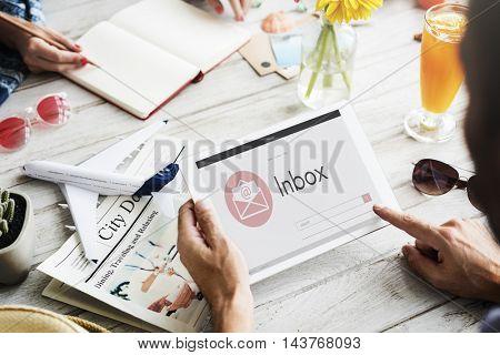 Online Message Blog Chat Communication Envelop Graphic Icon Concept