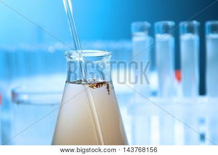Testing water in laboratory closeup