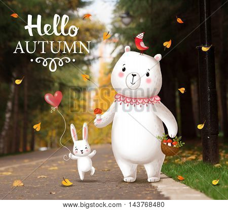 Funny bunny and bear striding through the park. Cute animals are walking in the park on a path. Picture on autumn theme. Greeting card with the inscription Hello Autumn .