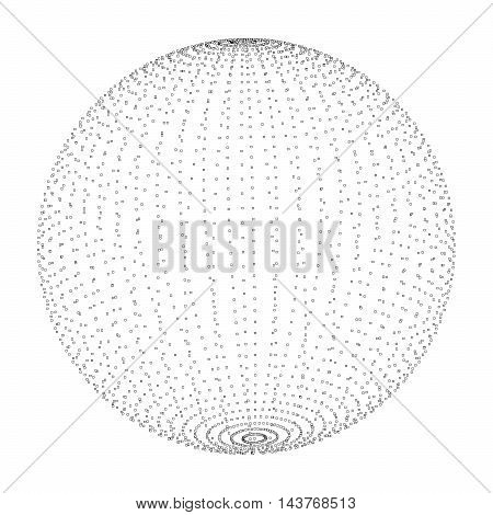 Abstract 3D sphere spiral shape in the form of luminous balls. illustration
