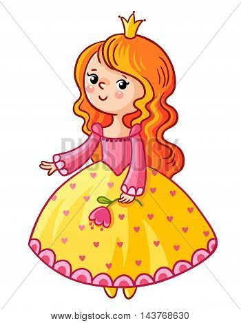 Cute Princess stand on a white background. Girl with a crown and a flower in her hand. Vector illustration of a princess in a cartoon style. The picture on the children theme.