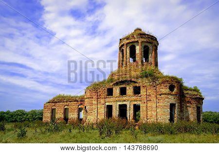Old abandoned church in Lugansk region, Ukraine
