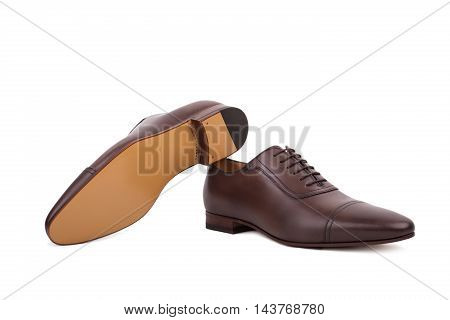 Men's Lace-up Dress Shoes, Designed With A Slim Elongated Toe, Made From A Smooth Brown Leather. Iso