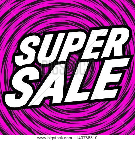 Caption super sale on a pink background.
