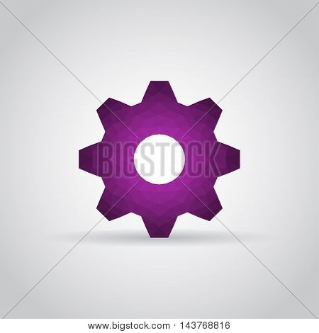 Gear icon in polygonal style with shadow on a gray background. Vector illustration eps10