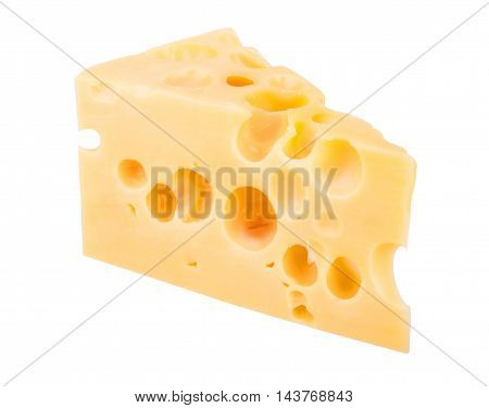 Cheese chunk isolated on the white background
