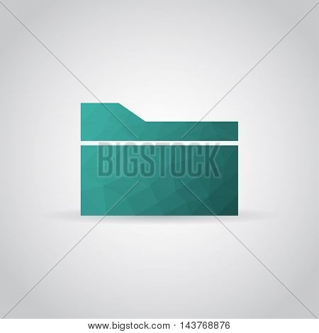 Folder icon in polygonal style with shadow on a gray background. Vector illustration eps10