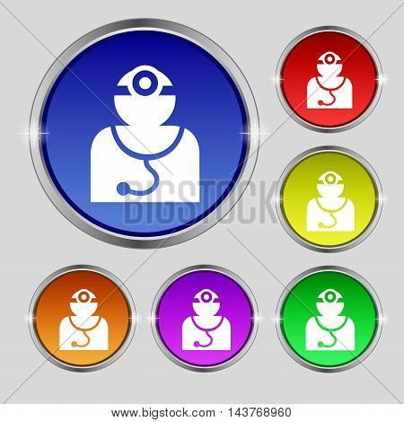 Doctor With Stethoscope Around His Neck Icon Sign. Round Symbol On Bright Colourful Buttons. Vector