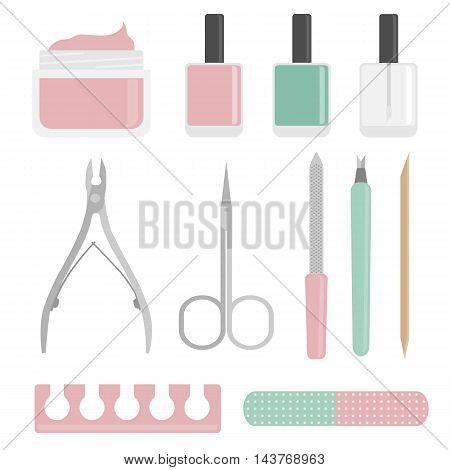 Vector Flat Manicure Tools