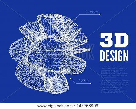 3D abstract design. Vector illustration wth wireframe model